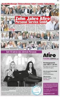 Jubiläum Afiro in Prima-Sonntag am 30.7.2017